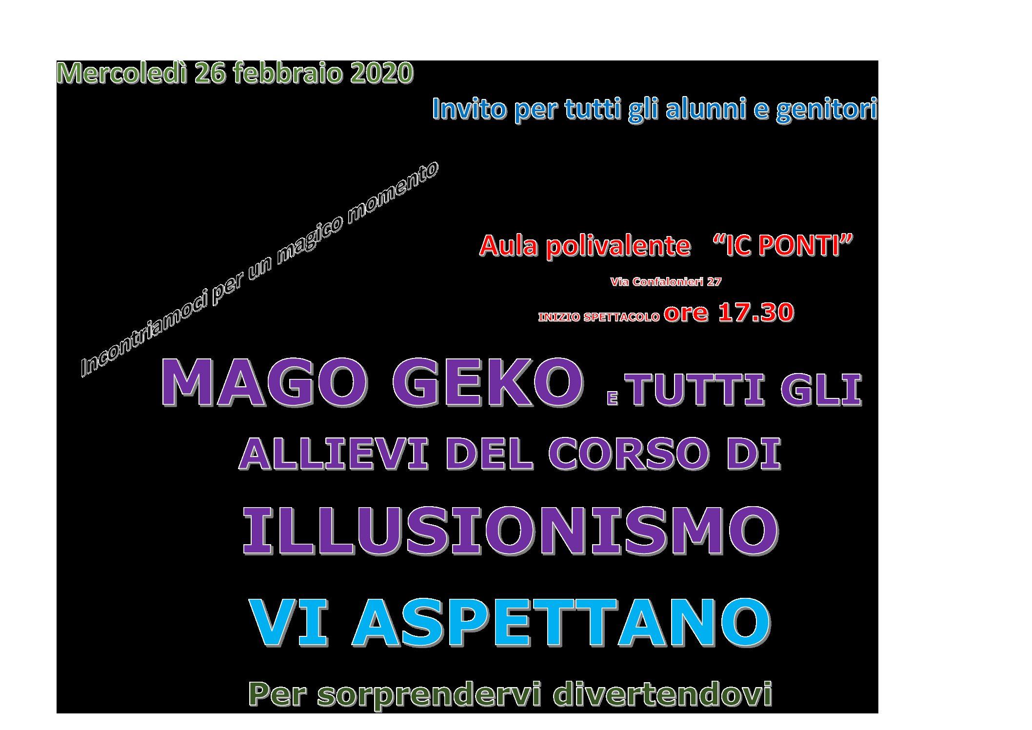 26 Febbraio 2020 spettacolo alle ore 17.30 sala polivalente via Confalonieri